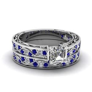 Antique Wedding Ring Set With Sapphire