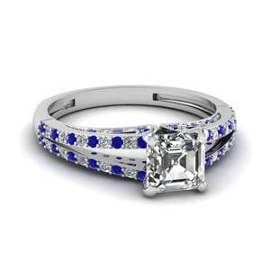 Asscher Diamond Split Ring