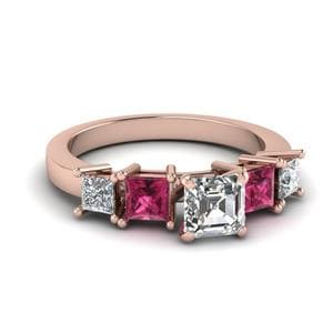 Asscher Diamond With Pink Sapphire Ring