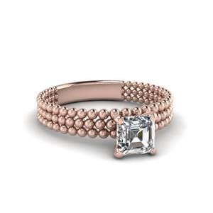 Asscher Cut Tri-Row Bead Ring