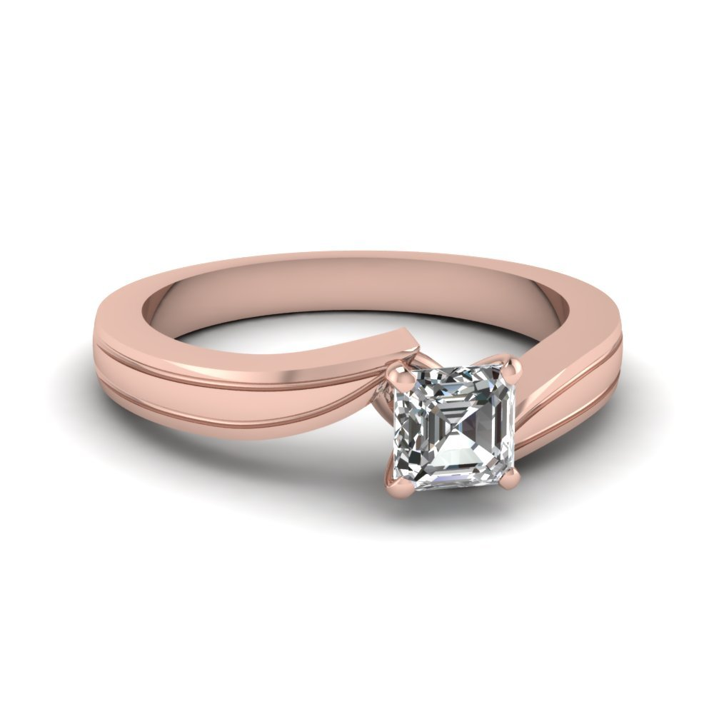 Asscher Cut Diamond Twisted Solitaire Engagement Ring In 14K Rose Gold