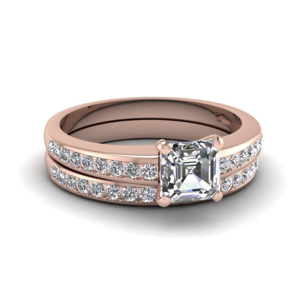Asscher Channel Diamond Wedding Set In 14K Rose Gold