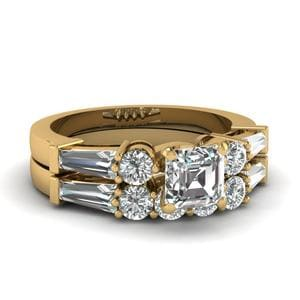 Asscher Cut 5 Stone Wedding Ring Set With Baguettes In 14K Yellow Gold
