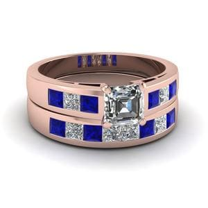 Channel Sapphire Wedding Set