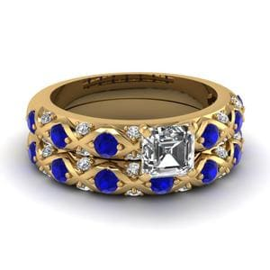 Cross Design Sapphire Wedding Set