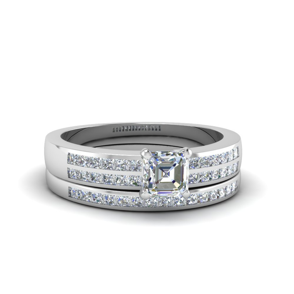 Asscher Cut Double Row Channel Diamond Wide Bridal Set In 14K White Gold