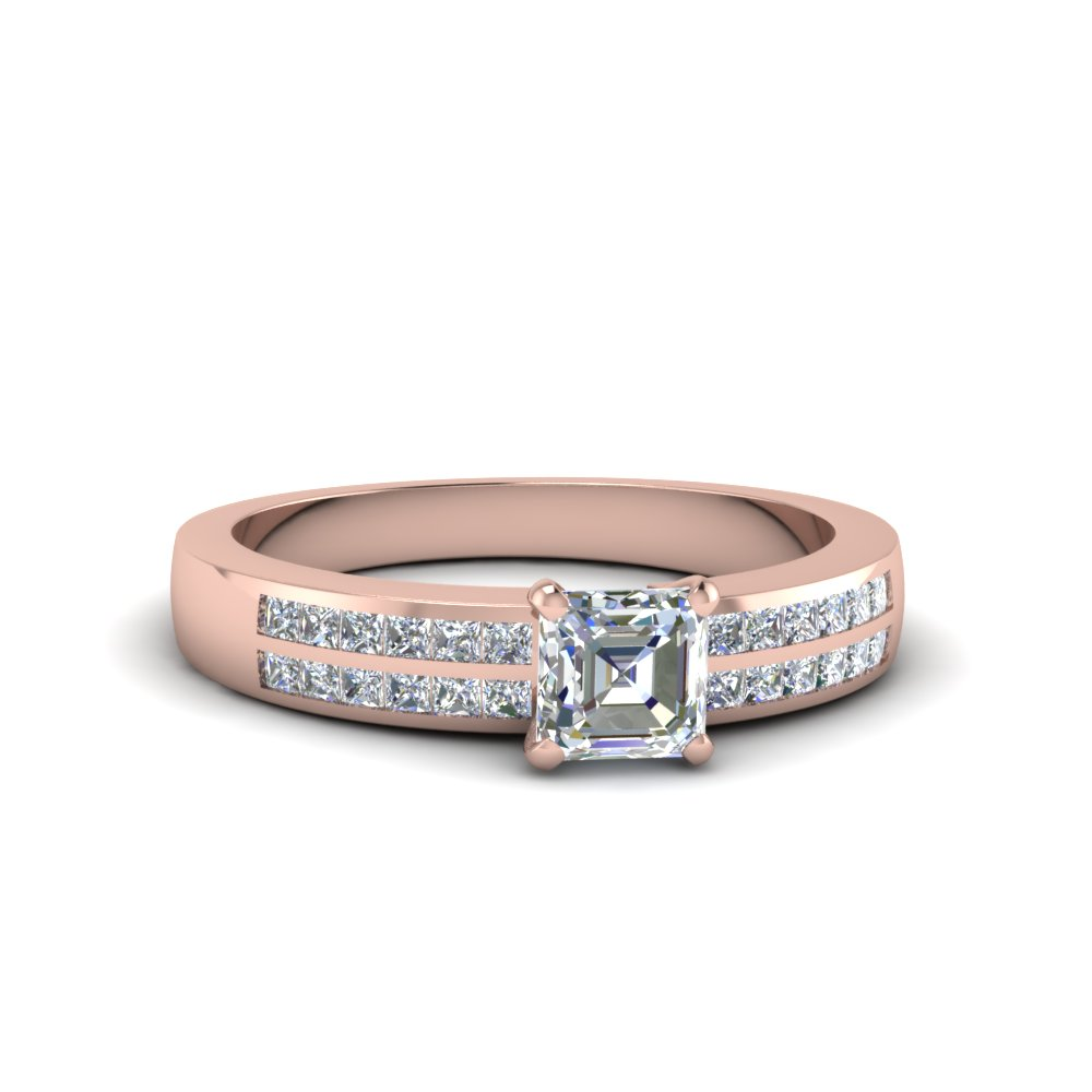 Asscher Cut Double Row Channel Diamond Wide Ring In 14K Rose Gold