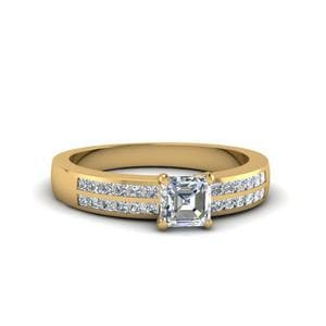 Asscher Cut Double Row Channel Diamond Wide Ring In 14K Yellow Gold