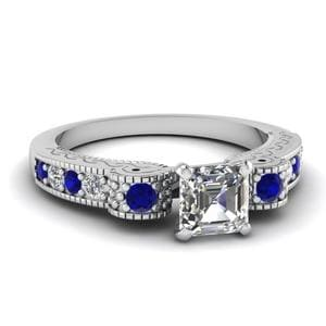 Engraved Antique Pave Asscher Cut Diamond Engagement Ring With Sapphire In 14K White Gold