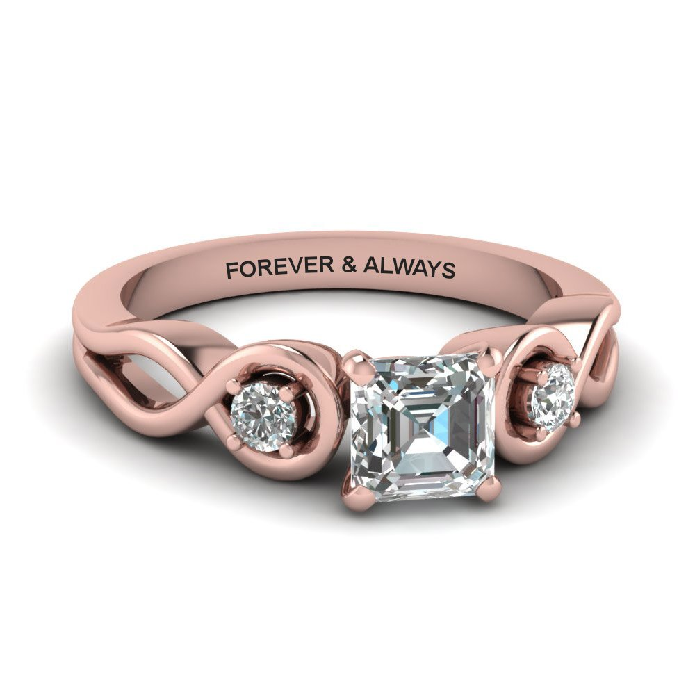 Asscher Cut Engraved Three Stone Diamond Engagement Ring In 14K Rose Gold