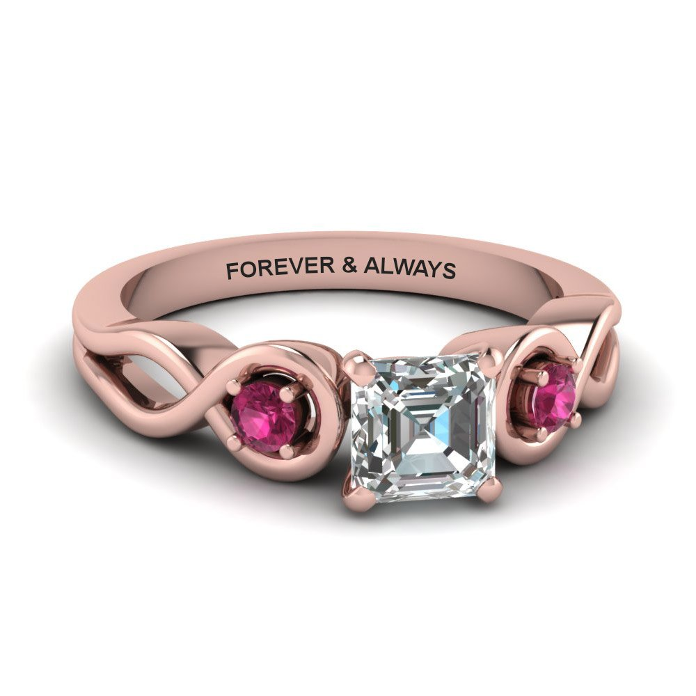 Asscher Cut Engraved Three Stone Diamond Engagement Ring With Dark Pink Sapphire In 14K Rose Gold