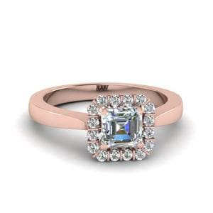 Asscher Cut Floating Halo Diamond Engagement Ring In 14K Rose Gold