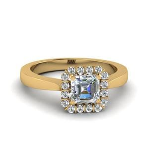 Asscher Cut Floating Halo Diamond Engagement Ring In 14K Yellow Gold