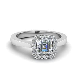 Asscher Cut Floating Halo Diamond Engagement Ring In 18K White Gold