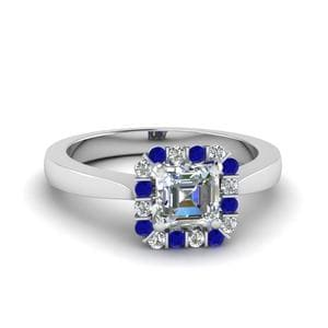 Floating Sapphire Halo Diamond Ring