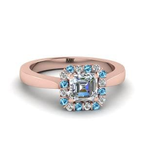 Topaz Halo Asscher Diamond Ring