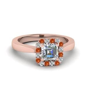 Halo Diamond Ring With Orange Sapphire