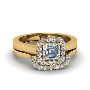Asscher Cut Floating Halo Diamond Wedding Ring Set In 14K Yellow Gold