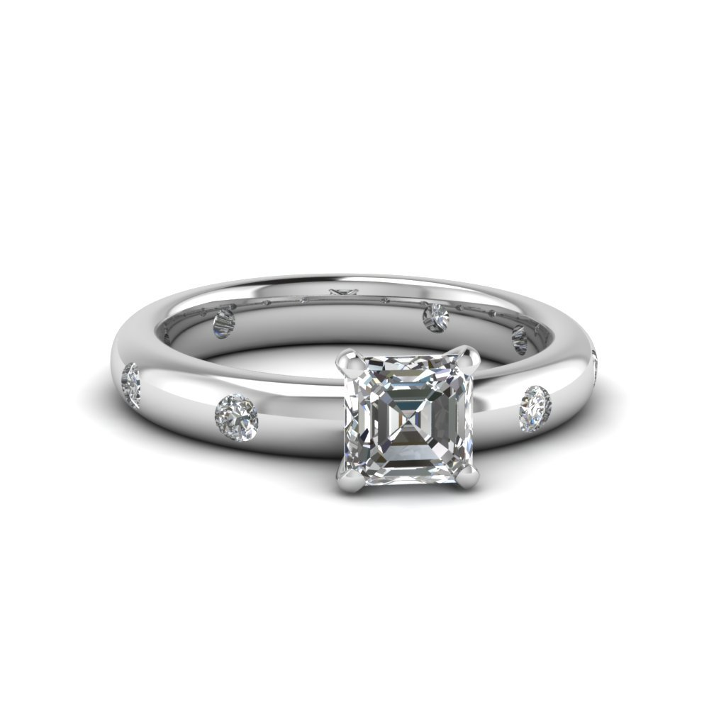 Flush Set Asscher Diamond Ring