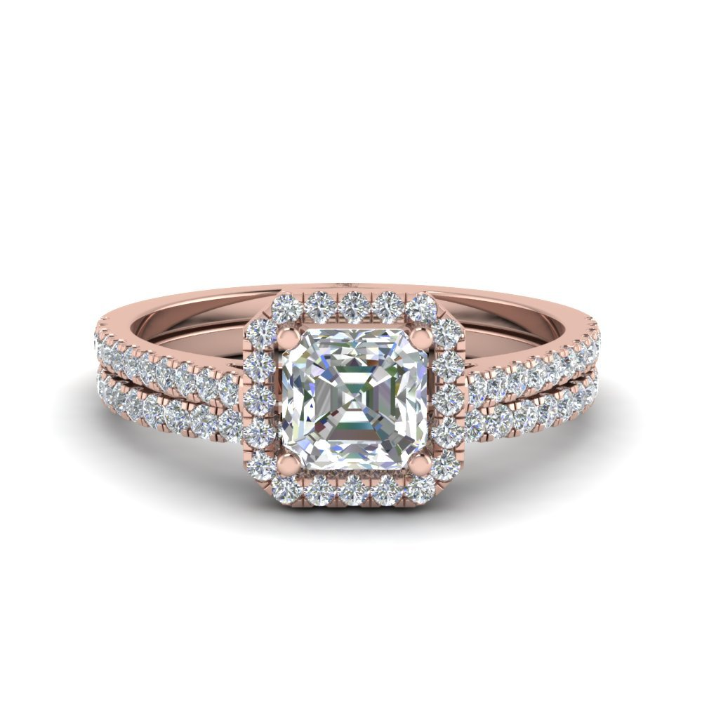 Asscher Cut Halo Diamond Bridal Set