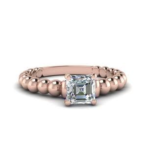 Asscher Cut Gold Bead Solitaire Diamond Engagement Ring With Blue Sapphire In 14K Rose Gold