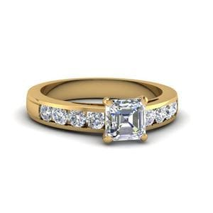 Channel Set Asscher Diamond Ring