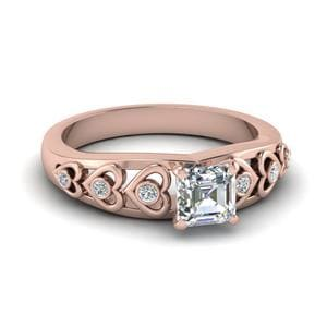 Asscher Cut Heart Design Diamond Accent Engagement Ring In 18K Rose Gold