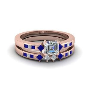 Asscher Cut With Sapphire Wedding Set