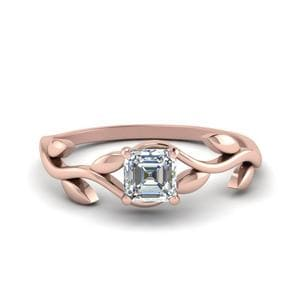 Leaf Asscher Cut Solitaire Ring