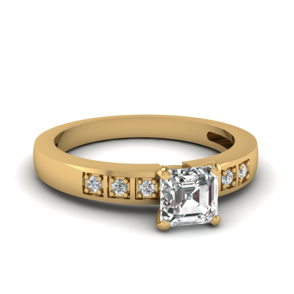 Asscher Cut Pave Accent Diamond Engagement Ring In 14K Yellow Gold