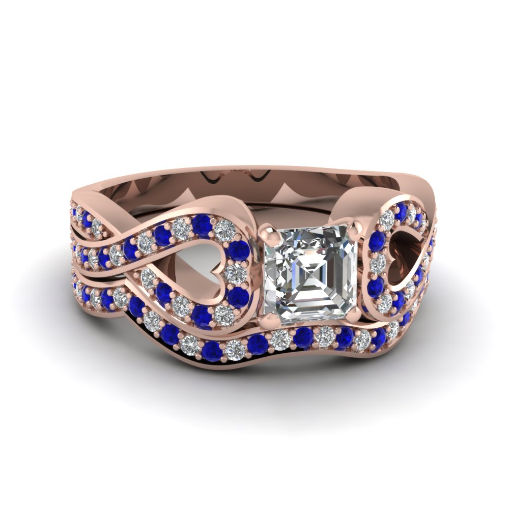 Entwined Asscher Diamond Wedding Ring Set With Sapphire In 14K Rose Gold
