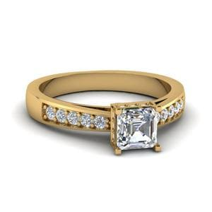 Tapered Pave Crown Asscher Cut Diamond Engagement Ring In 14K Yellow Gold