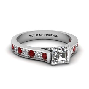 Asscher Diamond Rings With Ruby