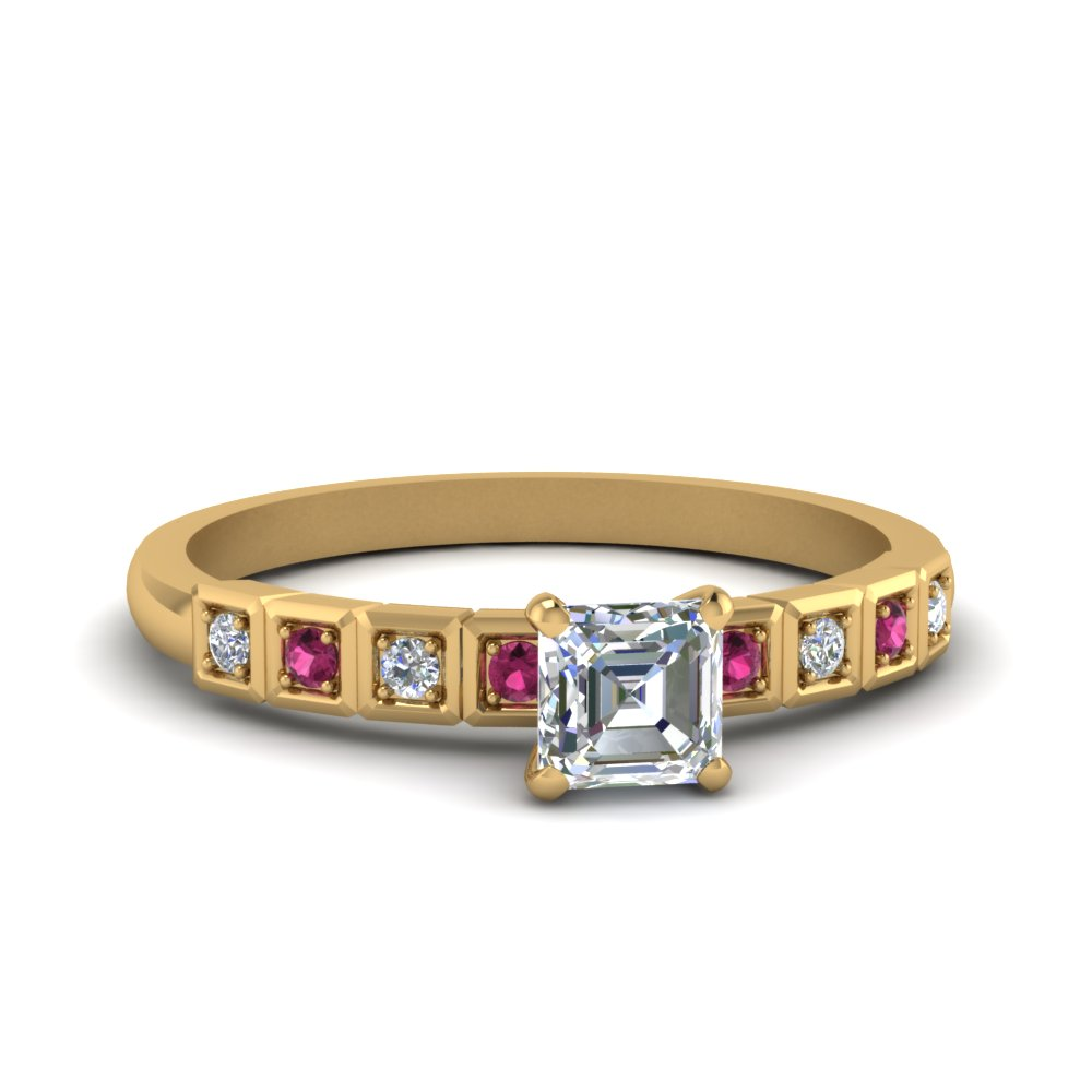 Asscher Cut Petite Block Design Diamond Engagement Ring With Pink Sapphire In 14K Yellow Gold