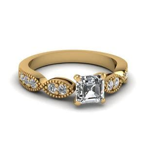 Asscher Cut Petite Milgrain Diamond Ring In 14K Yellow Gold