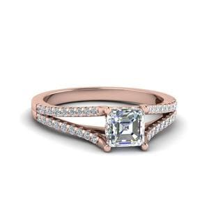 Asscher Cut Petite Split Diamond Engagement Ring In 14K Rose Gold