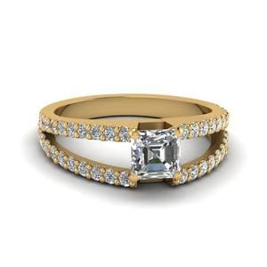 Asscher Cut Split Double Band Diamond Engagement Ring In 14K Yellow Gold