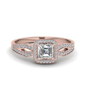 Asscher Cut Split Shank Halo Diamond Engagement Ring In 14K Rose Gold