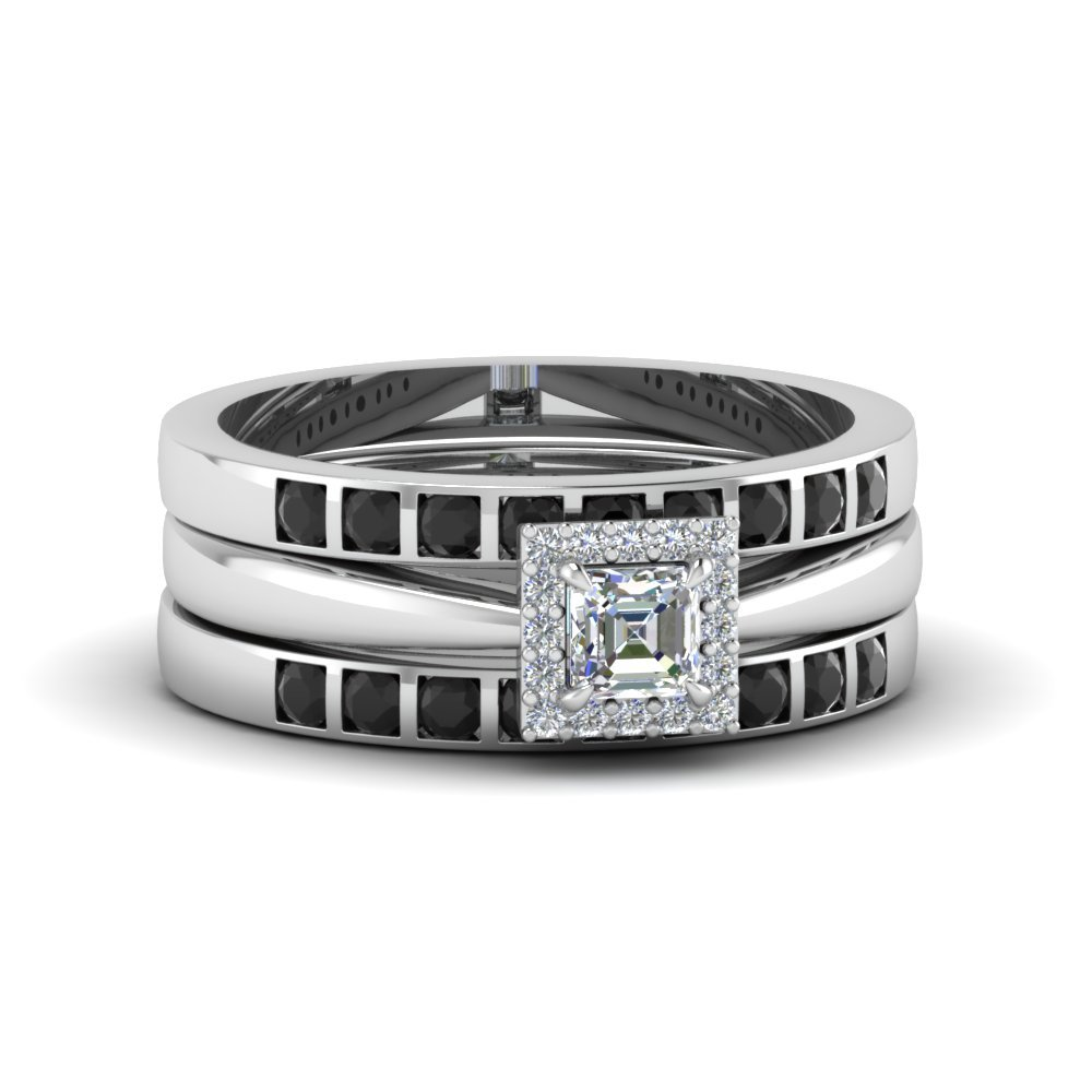 Asscher Cut Diamond Trio Wedding Ring