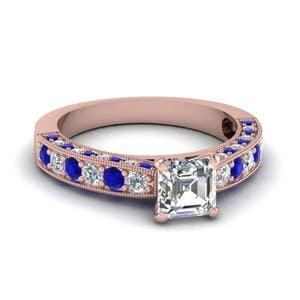 3 Sided Vintage Asscher Diamond Engagement Ring With Sapphire In 14K Rose Gold