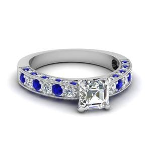 3 Sided Vintage Asscher Diamond Engagement Ring With Sapphire In 14K White Gold