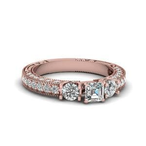 Asscher Cut Stone Accented U Prong Diamond Vintage Engagement Ring In 14K Rose Gold
