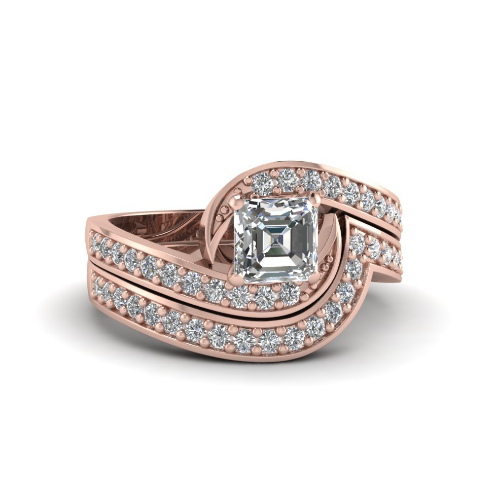 Asscher Cut Swirl Engagement Ring And Matching Band In 18K Rose Gold