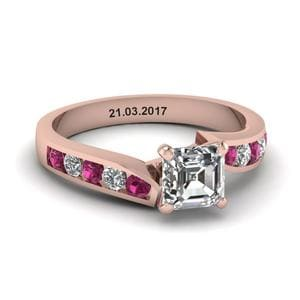 Unique Swirl Asscher Diamond Engagement Ring With Pink Sapphire In 14K Rose Gold