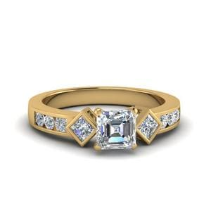 Asscher Cut Diamond 3 Stone Ring