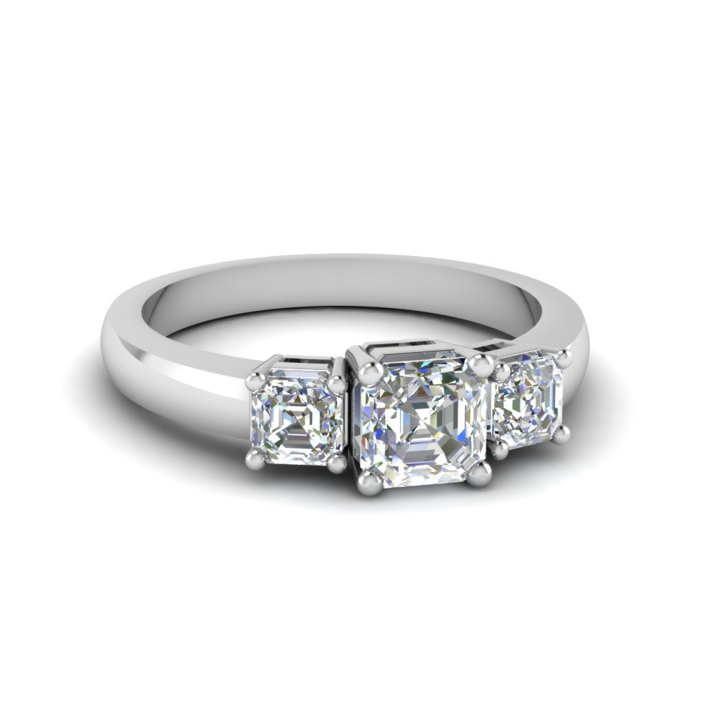 Asscher Cut Trio Diamond Engagement Ring 1 Carat In 14K White Gold