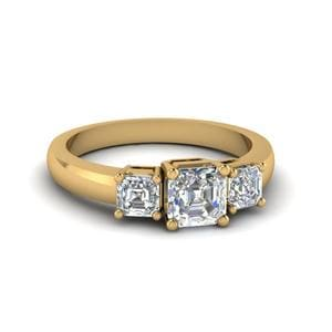 1 Carat Asscher Cut Trio Diamond Ring