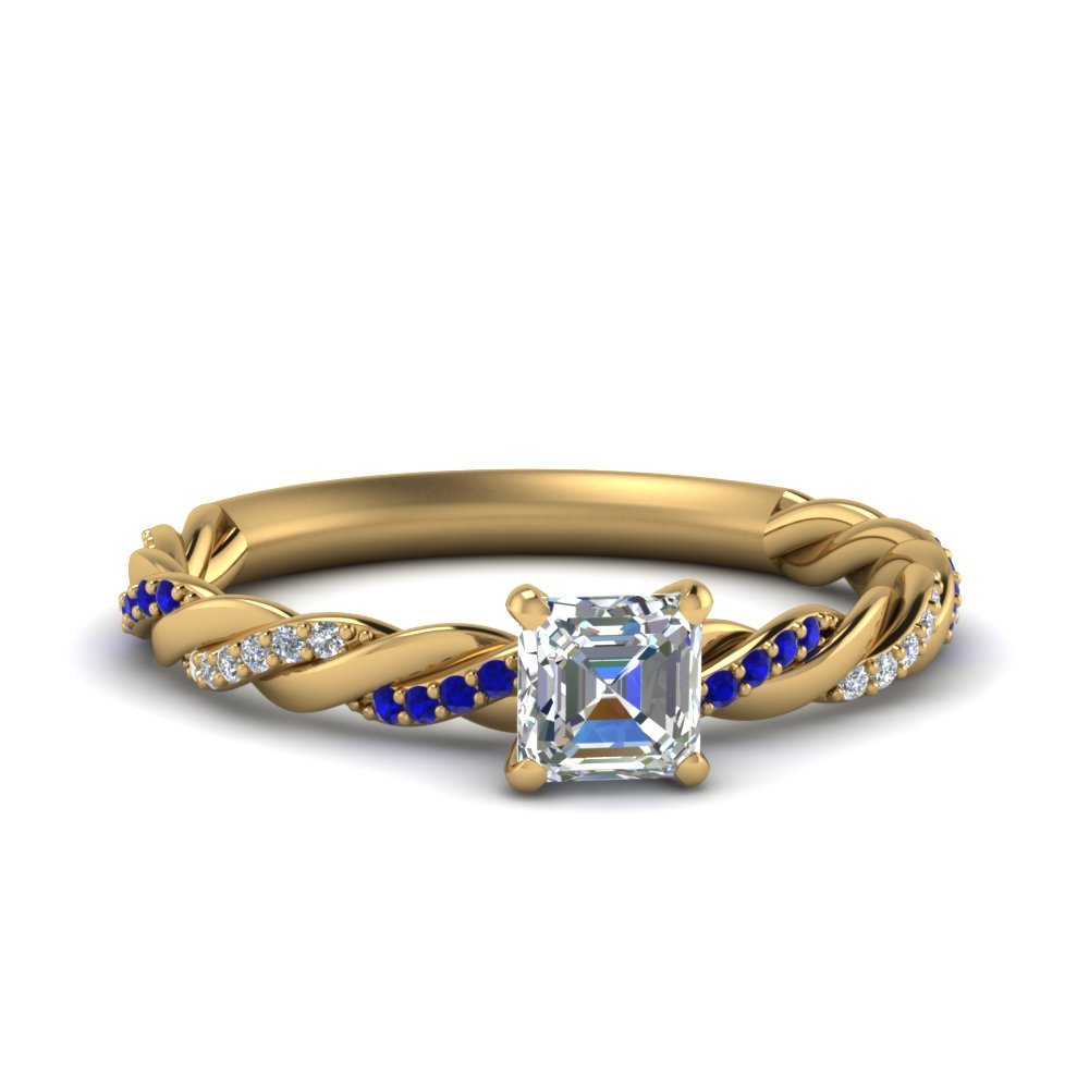 Twisted Delicate Asscher Cut Diamond Engagement Ring With Sapphire In 14K Yellow Gold