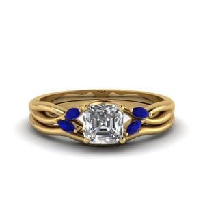 Sapphire Ring With Curved Band