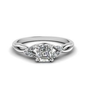 Asscher Cut Twisted Petal Diamond Ring